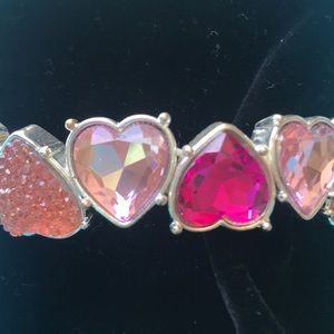 Pink heart stretch bracelet with silver accents